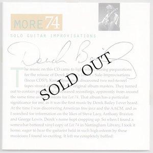 """画像1: Derek Bailey """"More 74 - Solo Guitar Improvisations"""" [CD]"""
